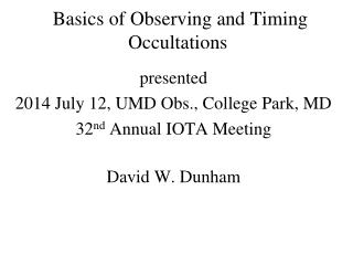 Basics of Observing and Timing Occultations