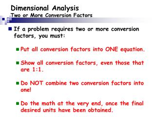 Dimensional Analysis Two or More Conversion Factors