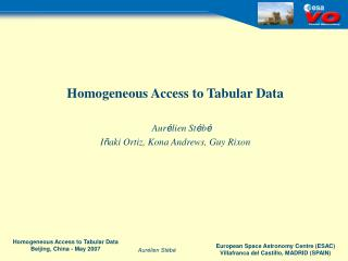Homogeneous Access to Tabular Data Aur é lien St é b é I ñ aki Ortiz, Kona Andrews, Guy Rixon