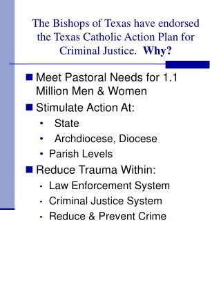 The Bishops of Texas have endorsed the Texas Catholic Action Plan for Criminal Justice.   Why?
