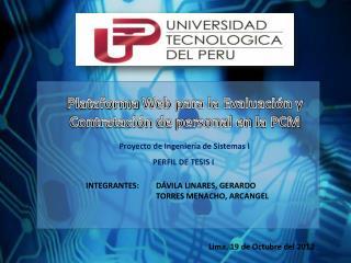 Plataforma  Web para la Evaluación  y Contratación  de  personal en  la PCM