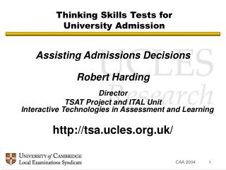 Thinking Skills Tests for University Admission