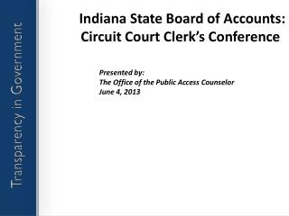 Indiana State Board of Accounts: Circuit Court Clerk's Conference