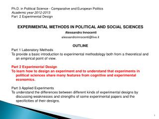 Ph.D.  in  Political  Science - Comparative and  European Politics Academic year  2012-2013