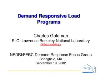 Demand Responsive Load Programs