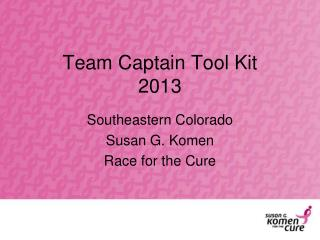 Team Captain Tool Kit 2013
