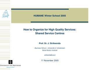 HUMANE Winter School 2005