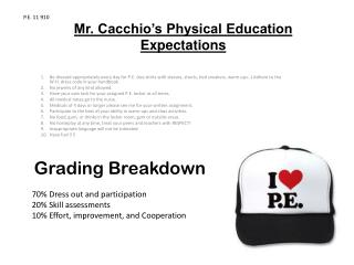 Mr. Cacchio's Physical Education Expectations