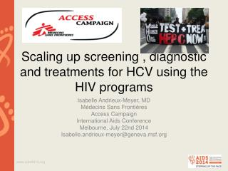 Scaling up screening , diagnostic and treatments for HCV using the HIV programs