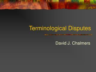 Terminological Disputes