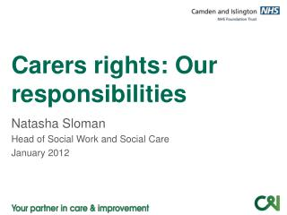 Carers rights: Our     responsibilities