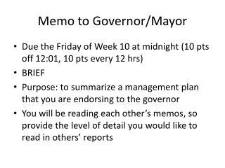 Memo to Governor/Mayor