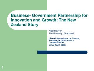 Business- Government Partnership for Innovation and Growth: The New Zealand Story