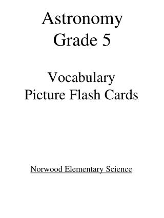 Vocabulary Picture Flash  Cards