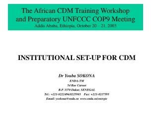 INSTITUTIONAL SET-UP FOR CDM Dr Youba SOKONA ENDA-TM 54 Rue Carnot B.P. 3370 Dakar, SENEGAL