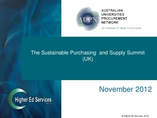 The Sustainable Purchasing  and Supply Summit (UK)