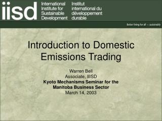 Introduction to Domestic Emissions Trading
