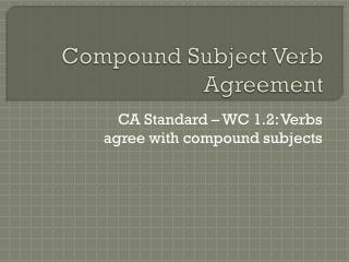 Compound Subject Verb Agreement