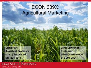 ECON 339X: Agricultural Marketing
