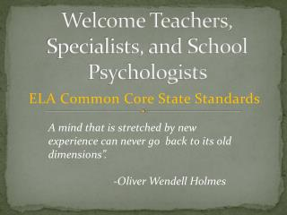 Welcome Teachers,  Specialists, and School Psychologists