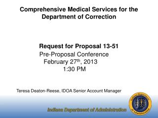 Comprehensive Medical Services for the Department of Correction Request for Proposal 13-51