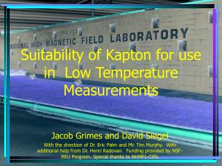 Suitability of Kapton for use in  Low Temperature Measurements