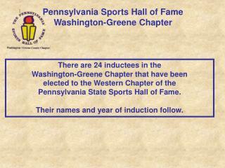 Pennsylvania Sports Hall of Fame Washington-Greene Chapter