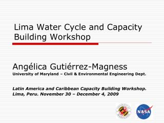 Lima Water Cycle and Capacity Building Workshop