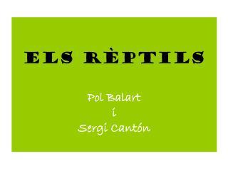 ELS RÈPTILS Pol Balart  i  Sergi Cantón