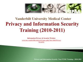 Protected Health Information: HIPAA and VUMC Policy