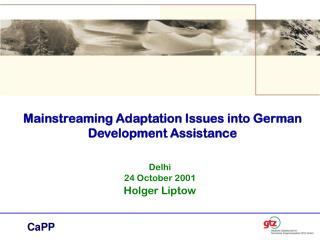 Mainstreaming Adaptation Issues into German Development Assistance