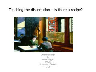 Teaching the dissertation – is there a recipe?