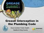 Grease Interception in the Plumbing Code