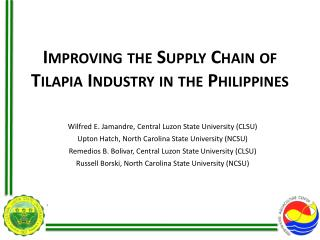 Improving the Supply Chain of Tilapia Industry in the Philippines