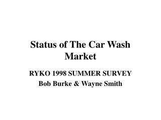 Status of The Car Wash Market