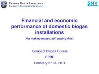 Financial and economic performance of domestic biogas installations