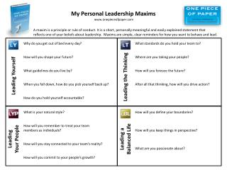 My Personal Leadership Maxims  onepieceofpaper