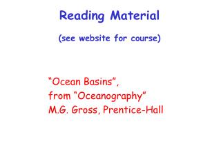 Reading Material (see website for course)
