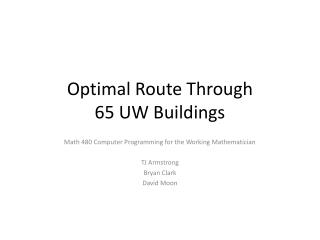 Optimal Route Through 65 UW Buildings