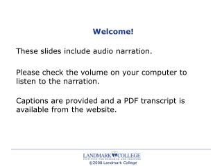 Welcome! These slides include audio narration.