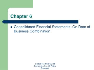 Consolidated Financial Statements: On Date of Business Combination