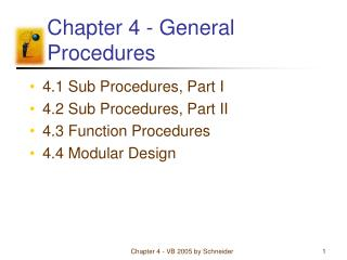 Chapter 4 - General Procedures