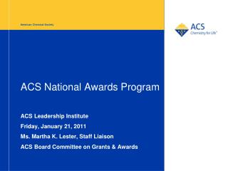 ACS National Awards Program