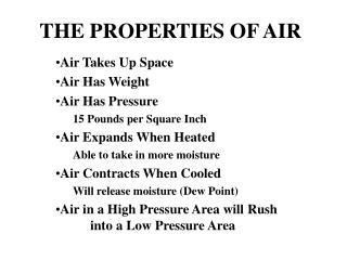 THE PROPERTIES OF AIR