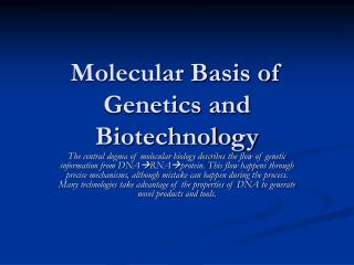Molecular Basis of Genetics and Biotechnology