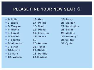 Please find your new seat!  