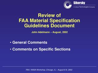 Review of FAA Material Specification Guidelines Document
