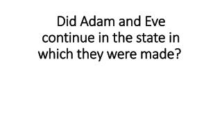 Did Adam and Eve continue in the state in which they were made?