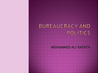 BUREAUCRACY AND POLITICS