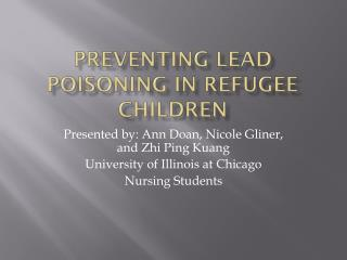 Preventing Lead Poisoning in Refugee Children